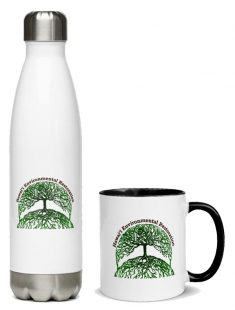 HER stainless steel water bottle and ceramic mug with a splash of color on the handle and inside.